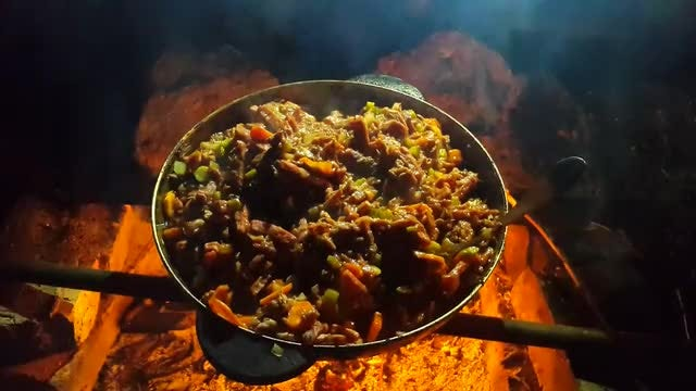 Street Food Cooked With Firewood: Stock Video
