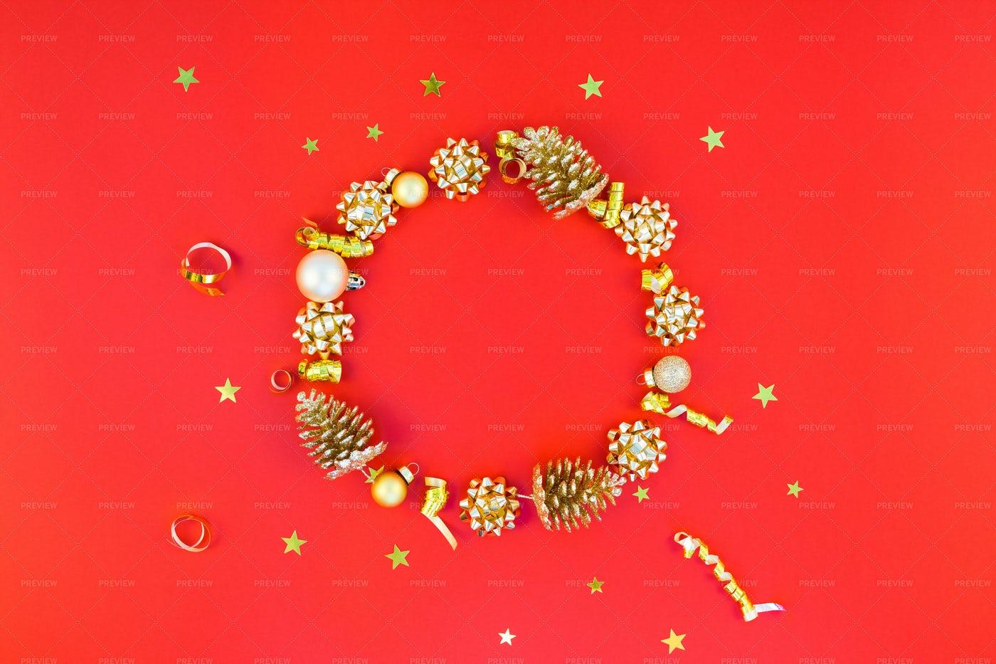Christmas Golden Wreath Frame: Stock Photos