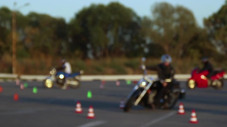 Motorcyclists Riding In The Park: Stock Video