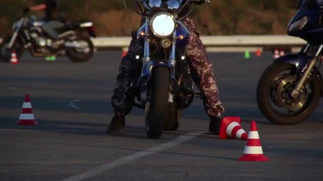 Motorcyclists Training In The Park: Stock Video