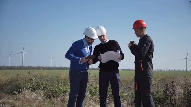 Engineers Checking Wind Turbines: Stock Video