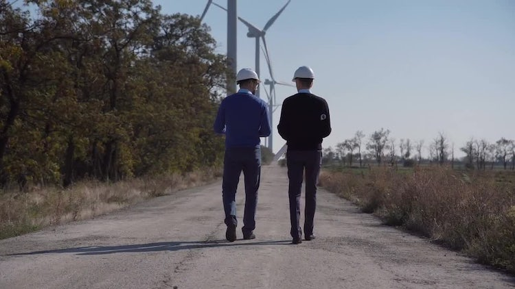 Engineers Discuss Wind-farm Plans: Stock Video