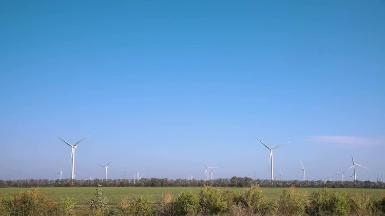 Turbines In Wind Farm: Stock Video