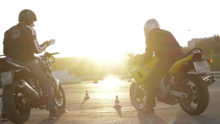 Motorcycle Training at Sunset: Stock Video
