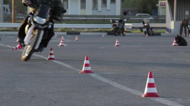 Motorcycle Slalom Through Cones: Stock Video