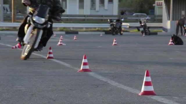 Motorcycle Slalom Through Cones: Stock Video