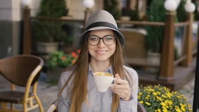 Girl Having Morning Coffee: Stock Video
