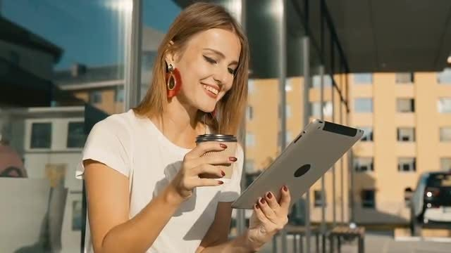 Girl With Tablet And Coffee : Stock Video