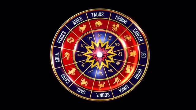 Rotating Wheel Of Indian And Western Zodiac Symbols: Stock Motion Graphics