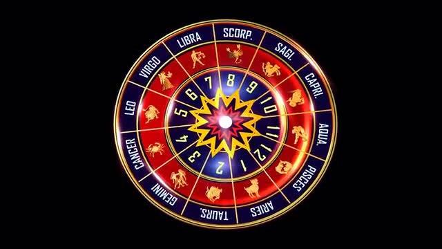 Rotating  Indian Zodiac Sign wheel: Stock Motion Graphics