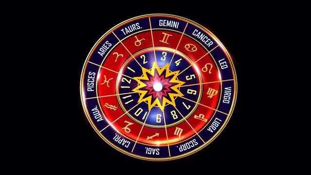 Rotating Wheel Of Western Zodiac Symbols: Stock Motion Graphics