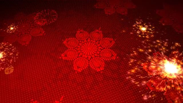 Red Flowers Kaleidoscope Celebration Background: Stock Motion Graphics