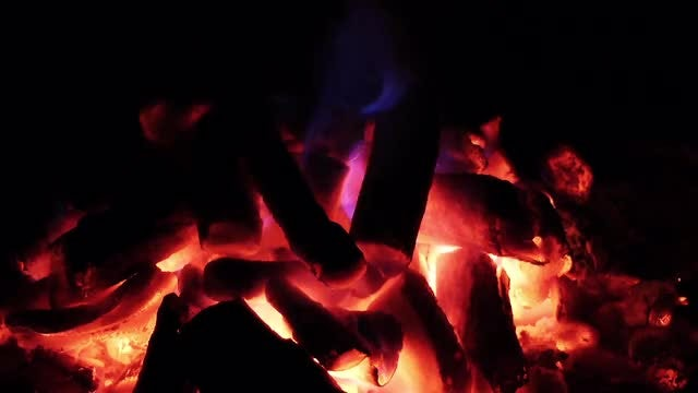 Embers And Blue Flame Stove: Stock Video