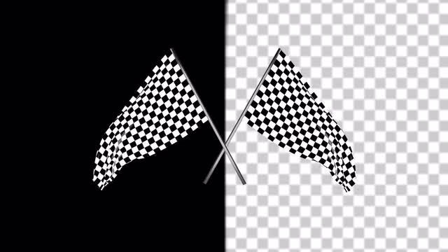 Double Checkered Race Flags : Stock Motion Graphics