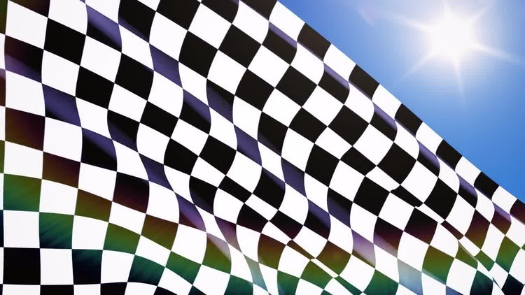 Sunny Day Racing Flag Closeup : Stock Motion Graphics