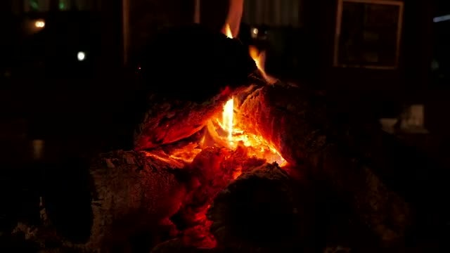 Fireplace With Dying Flames: Stock Video