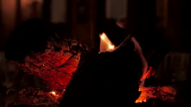 Firewood Burning With Dying Flames: Stock Video