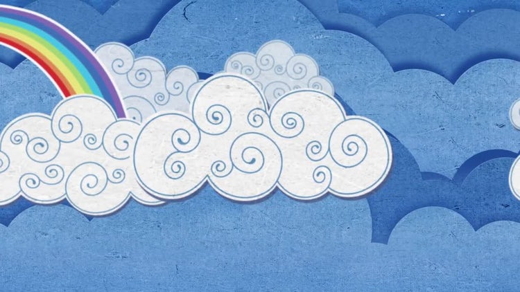 Cartoon Clouds And Rainbows Loop: Stock Motion Graphics