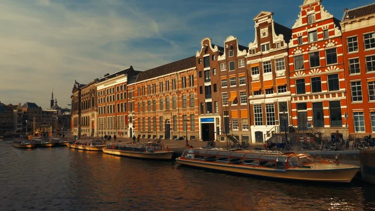 Canals Of Amsterdam With Buildings: Stock Video