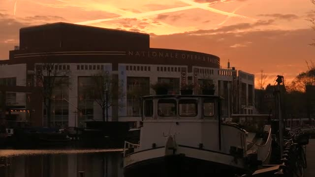 City Of Amsterdam At Dawn: Stock Video