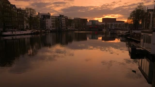Tilting Shot Of Amstel River : Stock Video