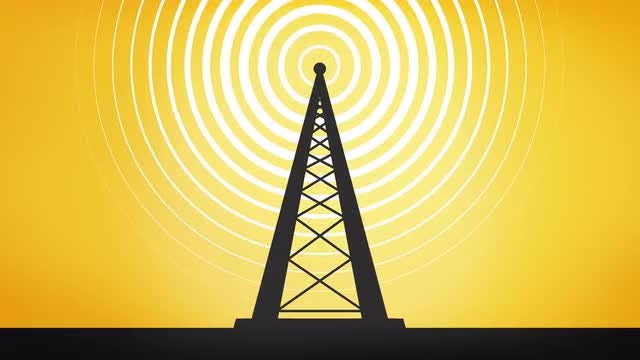 Cartoon Radio Tower Animation: Stock Motion Graphics
