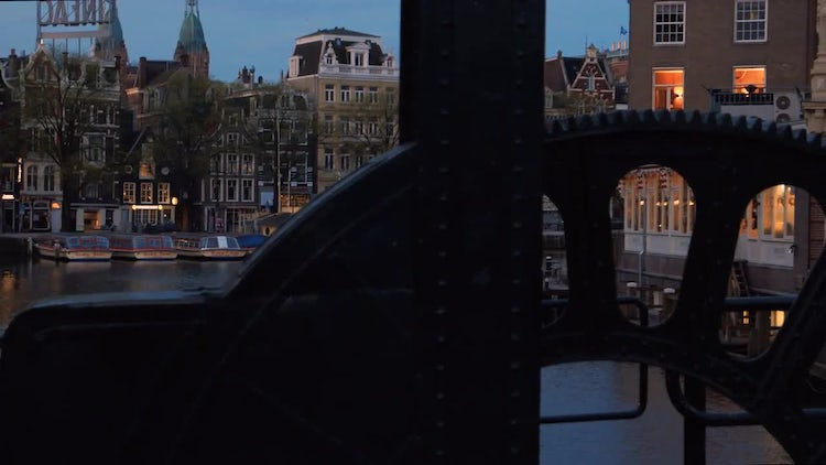 Canals Of Amsterdam At Dawn : Stock Video