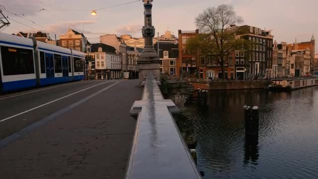 Cinematic Shot Of Amsterdam City: Stock Video