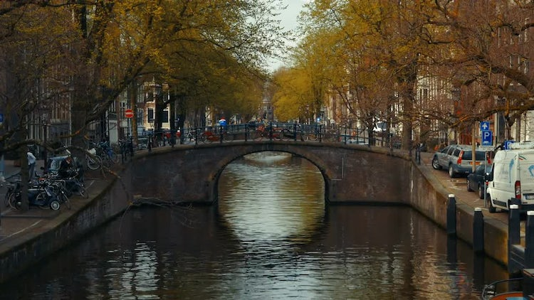 Tilting Shot Of Amsterdam Canal: Stock Video