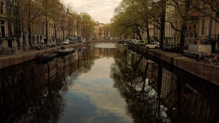 Amsterdam Canals During Late Afternoon: Stock Video