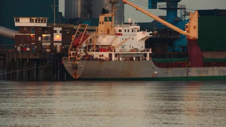 Panning Shot Of Cargo Ships: Stock Video