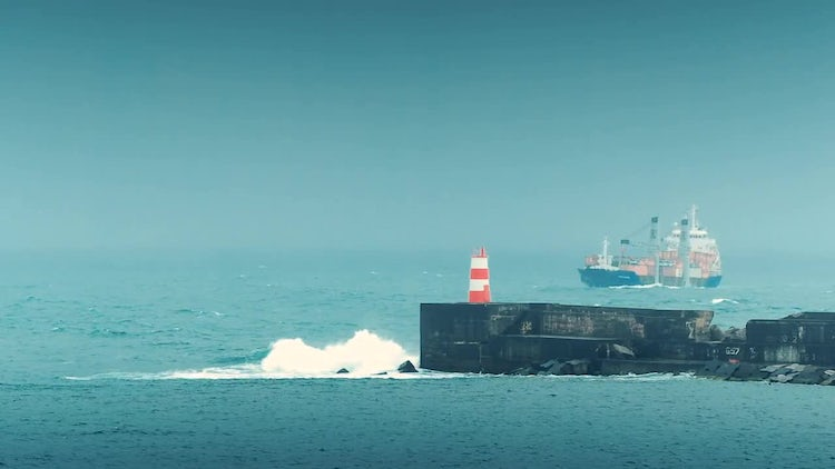 Large Cargo Ship Approaching Port: Stock Video