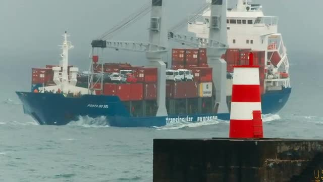 Cargo Ship On A Stormy Day: Stock Video