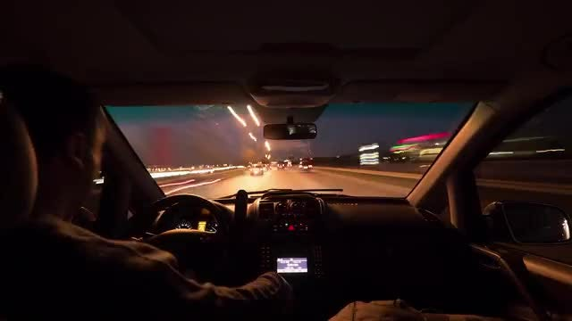 Time Lapse Of Night Driving: Stock Video