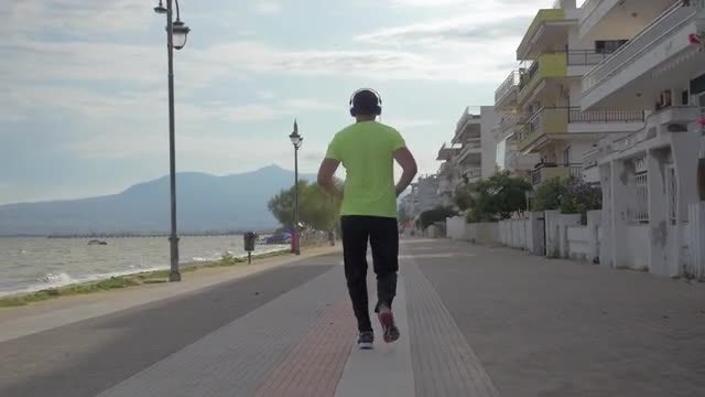 Man Jogging In Greece: Stock Video