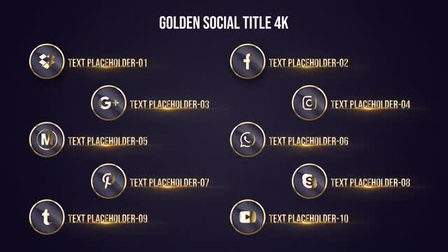 Golden Social Title 4K: After Effects Templates