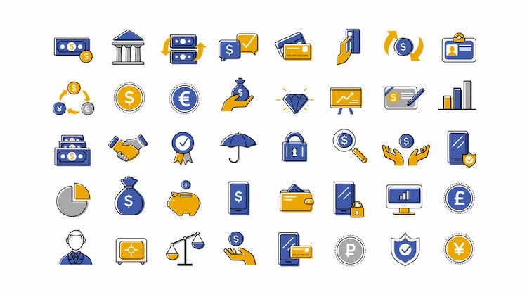 40 Animated Finance And Banking Icons: After Effects Templates