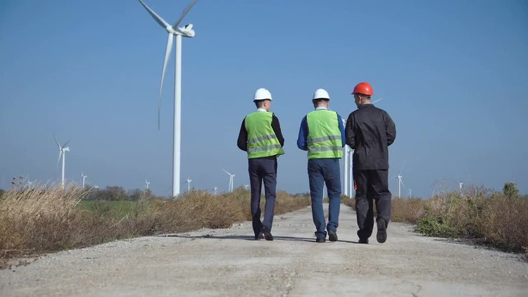 Wind Farm Engineers Inspection: Stock Video