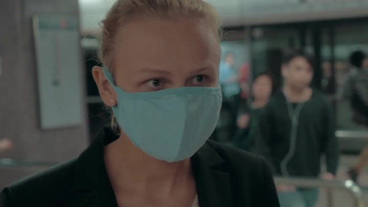 Blond Woman Wearing Surgical Mask : Stock Video