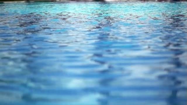 Large Swimming Pool With Ripples: Stock Video