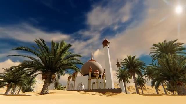 Ancient Mosque In The Desert: Stock Motion Graphics