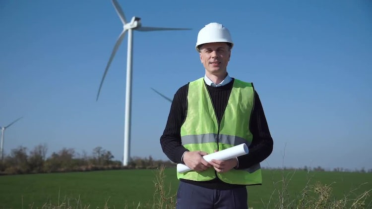 Engineer At The Wind Farm: Stock Video