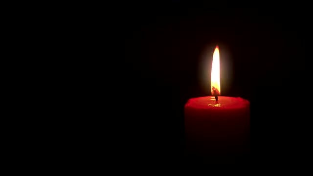 Lit Red Candle: Stock Video