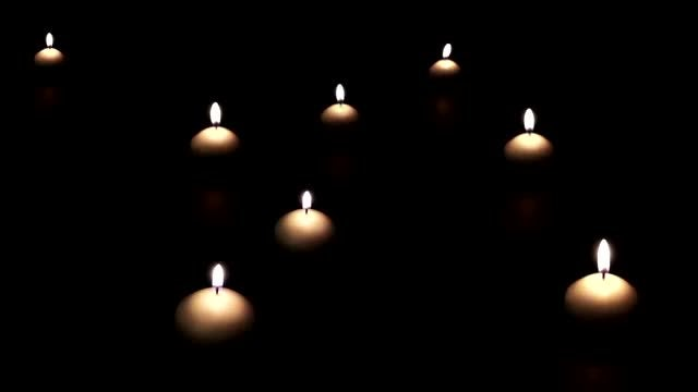 Candles Light Up And Disappear: Stock Video