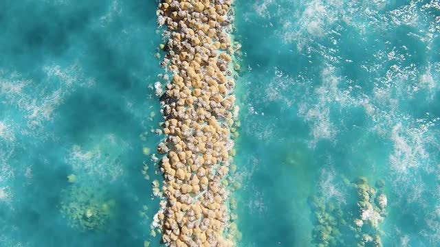 Rocky Jetty In The Ocean: Stock Motion Graphics