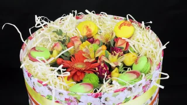 Box With Flowers And Macaroon: Stock Video