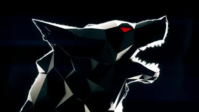 Flashing Low Poly Wolf Head Loop: Stock Motion Graphics