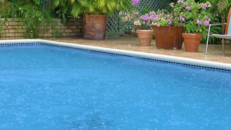Rain Falling Onto Swimming Pool: Stock Video