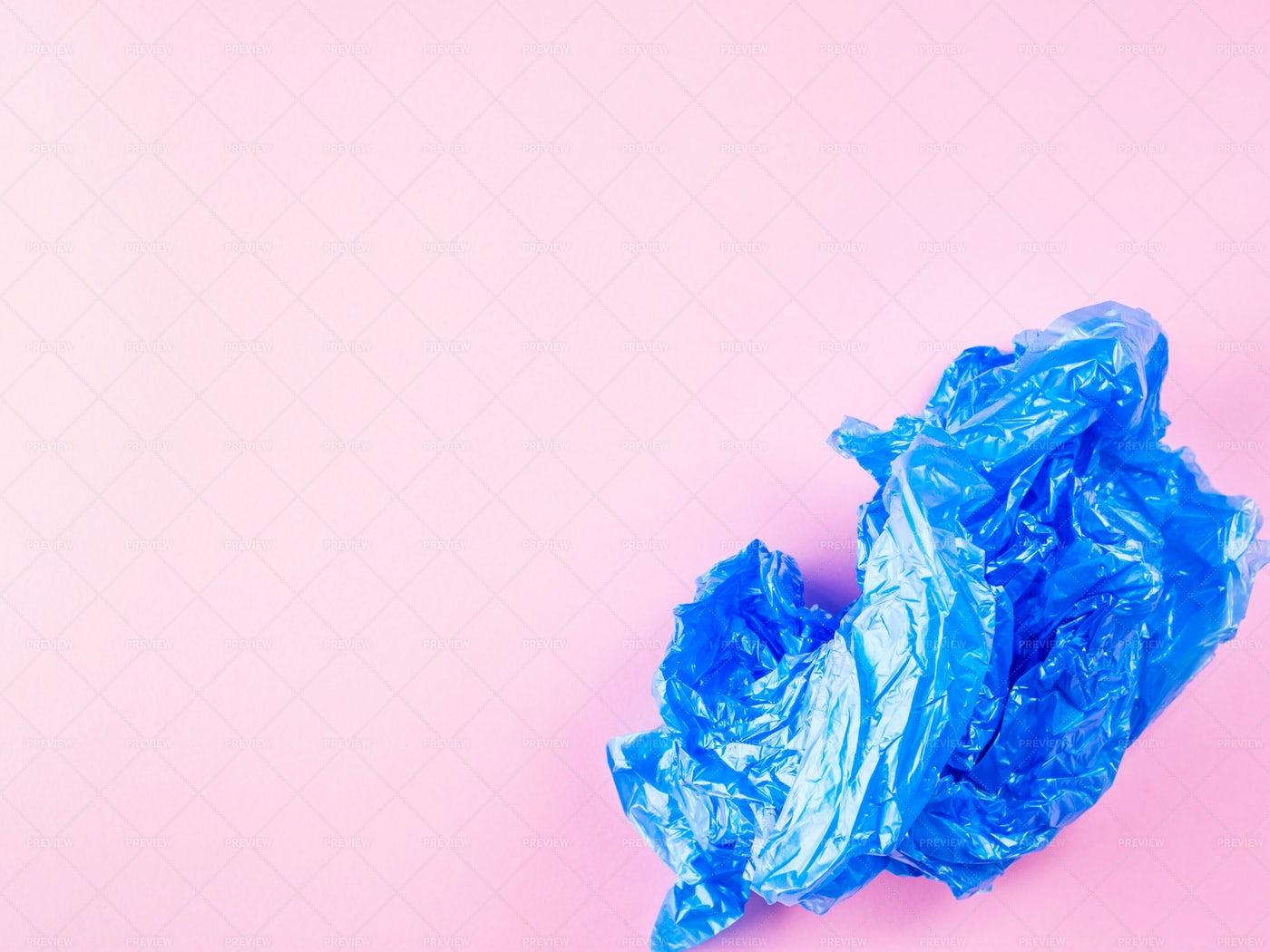 Crumpled Blue Plastic Bag: Stock Photos