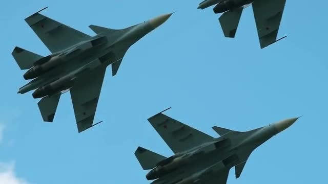 Four Fighter Jets Flying Fast: Stock Video